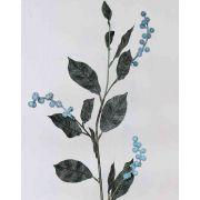 Branche de symphorine artificielle ELYSA, givrée, bleu, 75cm