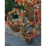 Panier avec des baies et des feuilles de vigne artificielles MAURO, rouge-orange, 30cm
