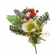 Bouquet d'hiver artificiel LILLY, hellébore, baies, crème, 17cm, Ø12cm
