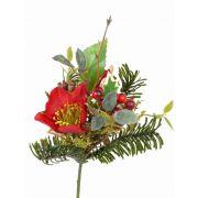 Bouquet d'hiver artificiel LILLY, hellébore, baies, rouge, 17cm, Ø12cm