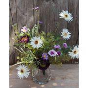 Bouquet de gerberas artificiel MAKANA, renoncule, rose, blanc-violet, 45cm