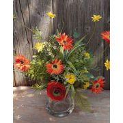 Bouquet de gerberas artificiel MAKANA, renoncule, rose, orange-jaune, 45cm