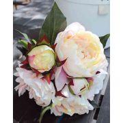 Bouquet de pivoines artificiel YALDA, crème-rose, 35cm