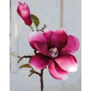 Magnolia en tissu FEMI, rose fuchsia, 35cm, Ø12cm