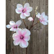 Branche de magnolia en tissu FEMI, rose-blanc, 80cm, Ø12cm