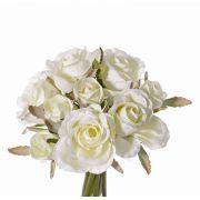 Bouquet de roses en soie ROSILA, blanc, 20cm, Ø15cm
