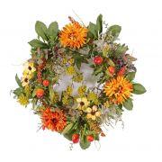 Couronne d'automne artificielle SABINE, gerbera, jaune-orange, Ø30cm