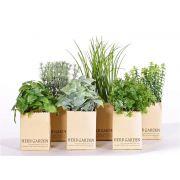 Mélange d'herbes artificielles CHUCK en pot de papier, 6 pcs, vert, 15-25cm