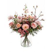 Bouquet de fleurs artificielles FEME, rose-vert, 65cm, Ø40cm