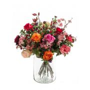 Bouquet de fleurs artificielles FEME, rose-orange, 45cm, Ø40cm