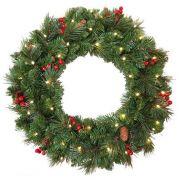 Couronne de Noël artificielle BUCAREST, décorée, LEDs, Ø60cm