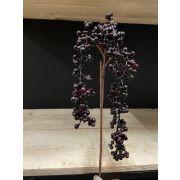 Kunst Holunderbeeren Zweig BARIS mit Früchten, schwarz-violett, 60cm